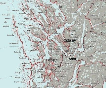 kart over osterøy Fakta om Osterøy kommune   Osterøy kart over osterøy