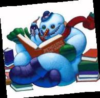 Snømann som leser