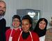 Fra åpningen av arbeidstreningsbedriften Messa Cafe: Her er Suely Castro, Natsnet Rusom og Jasmin Hadi, flankert av administrerende direktør Øyvind Ørbeck Sørheim og senior prosjektleder Jorunn Tønnesen i Norges Vel
