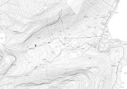 Kart over krigsminner registrert på Elvevoll.
