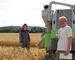 Innhøsting av korn fra prøvefelt med biogjødsel på Hellerud