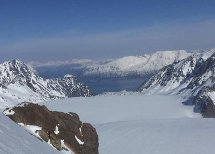 Fra Tafeltinden ser ned mot Strupen - Foto: Berit Jegervatn