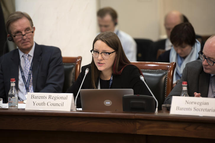 BRYC Chair Inna Fedorova presents her speech at the 16th Ministerial meeting in Arkhangelsk