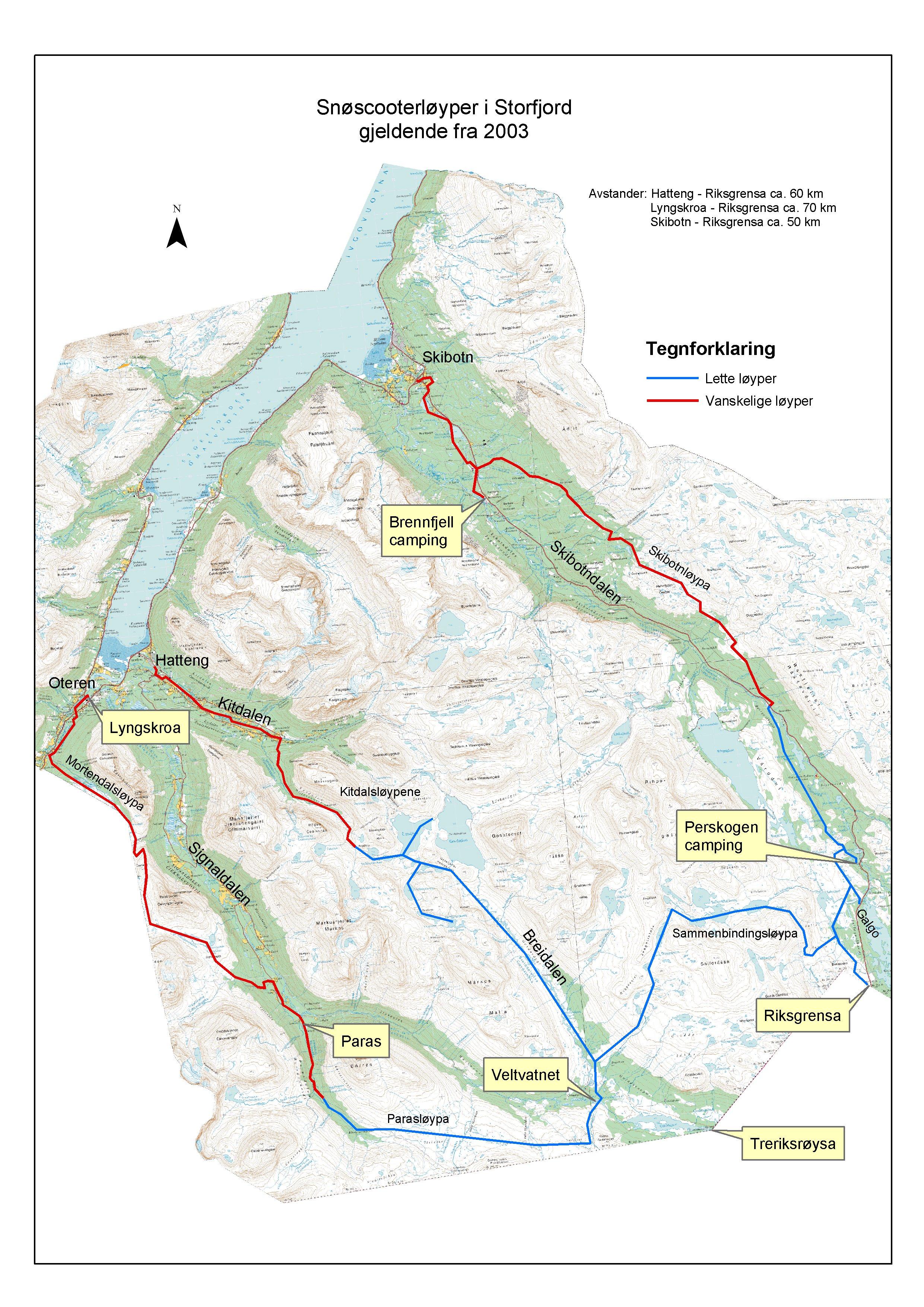 kart over storfjorden Kart over snøscooterløypene   Storfjord kommune kart over storfjorden