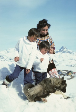 Eskimo (Inuit) family, mother and sons in national dress. Ammassalik/Tasiilaq, East Greenland. Her yoke is made from imported beads She wears foxskin shorts and sealskin boots Husky dog in foreground