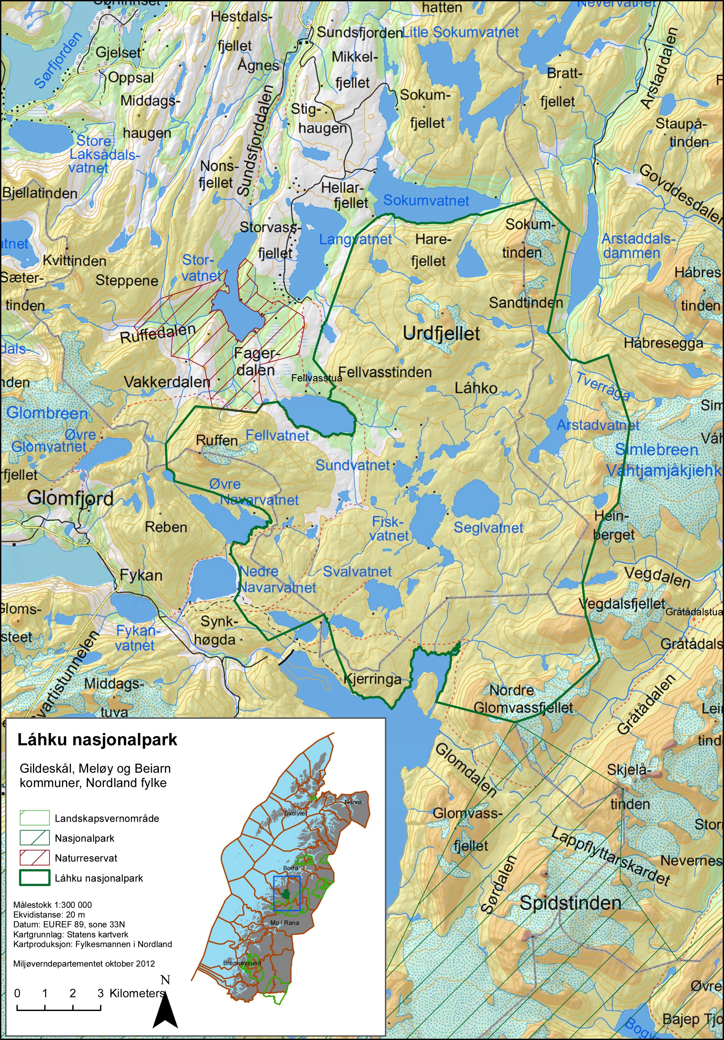 kart over glomfjord Láhko nasjonalpark   Gildeskål kommune kart over glomfjord