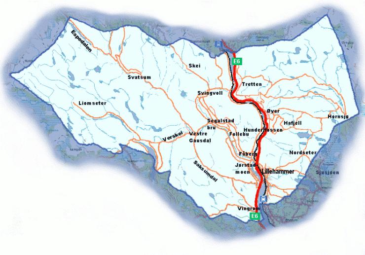 gausdal kart Kart over Lillehammerregionen   Bo, jobbe og leve i Lillehammer  gausdal kart
