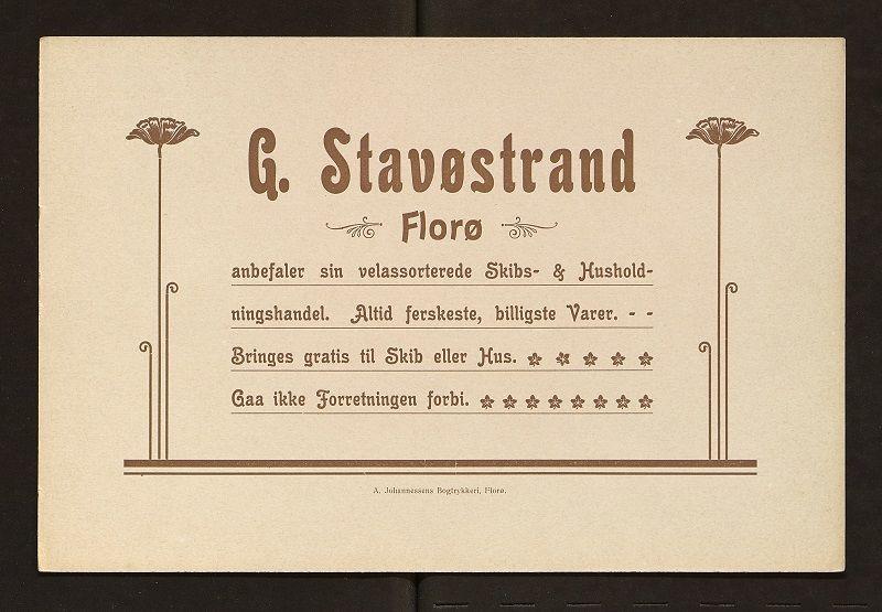 Smakebit frå arkivet etter A. Johannessens Trykkeri i Florø