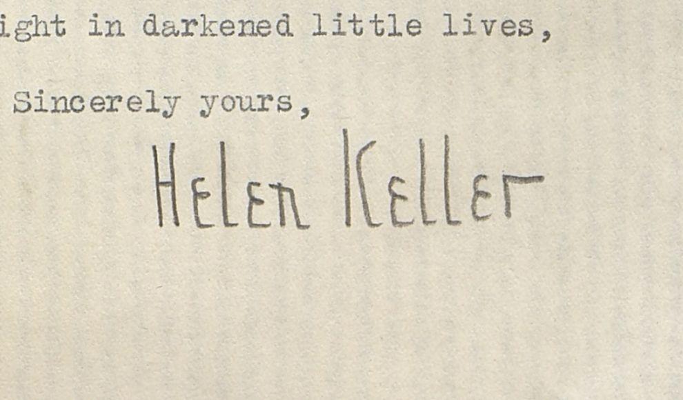 Den særprega signaturen til Helen Keller er ikkje til å ta feil av.
