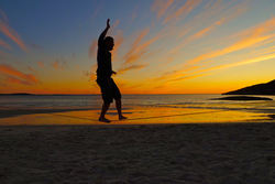 Slakk line i solnedgang