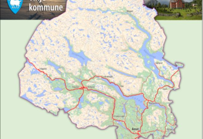 Kart over Vinje kommune