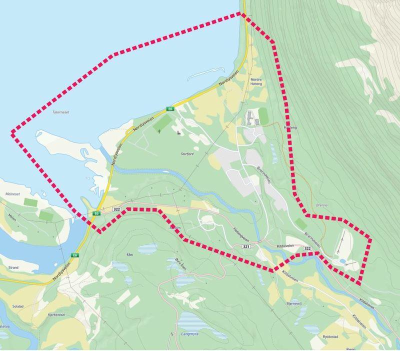 Kart planområde Hatteng