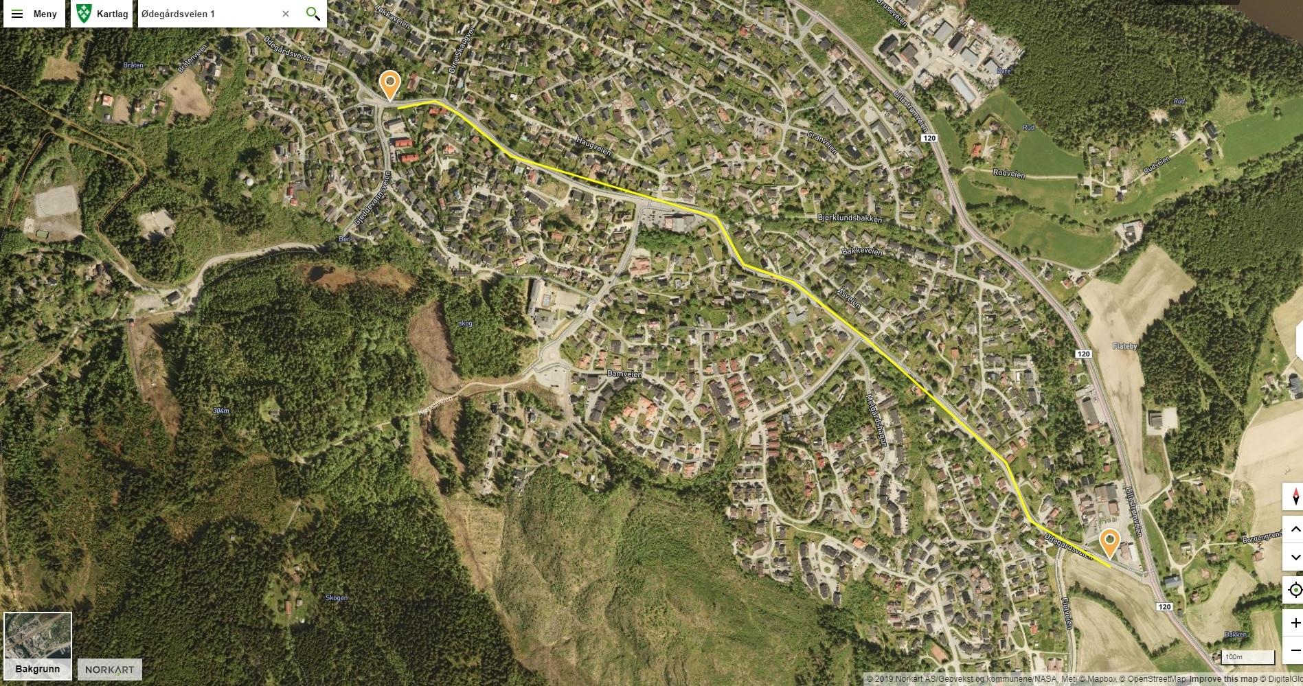 Ødegårdsveien kart