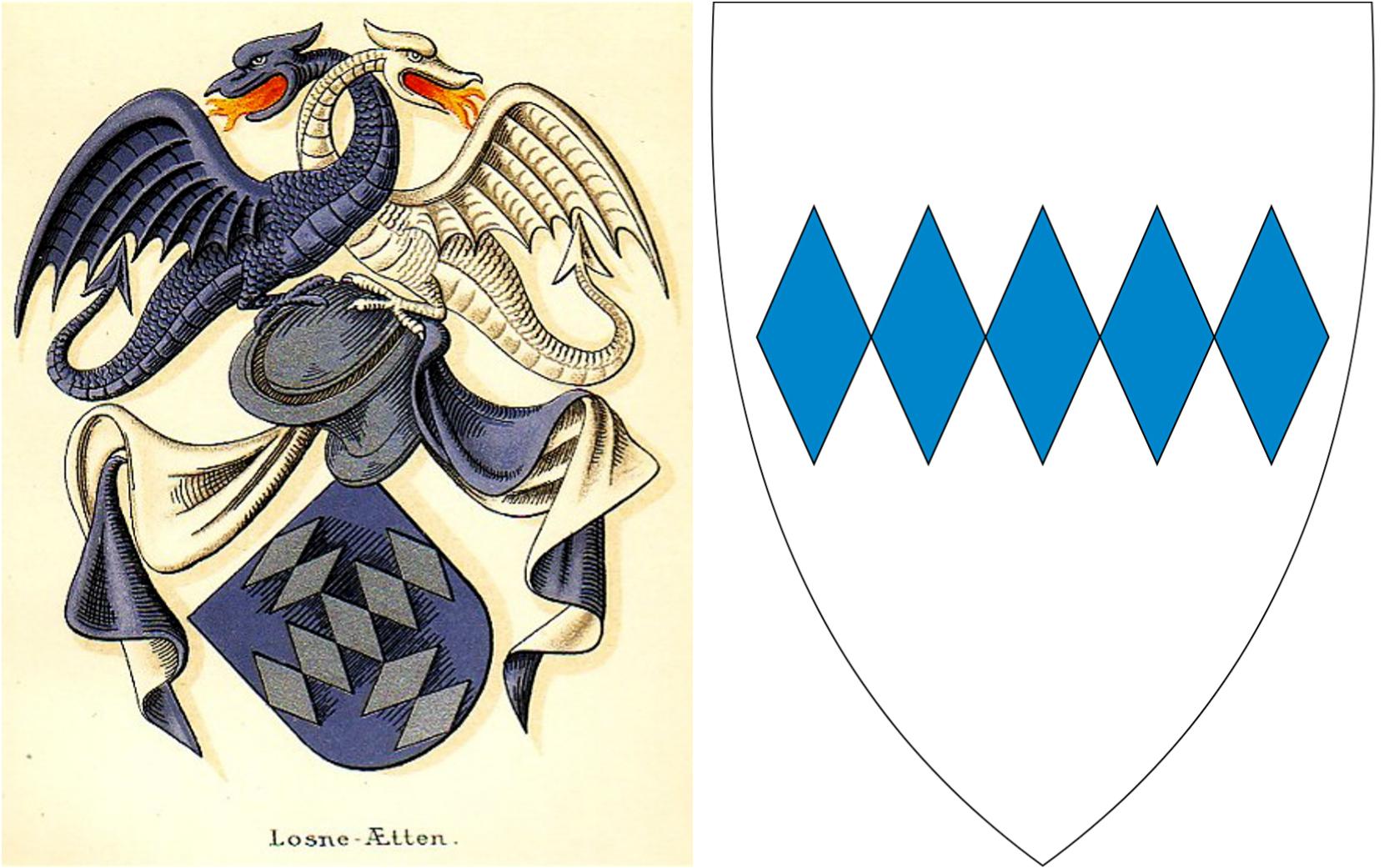 Losne-ætta sitt våpenskjold og og Solund sitt kommunevåpen.