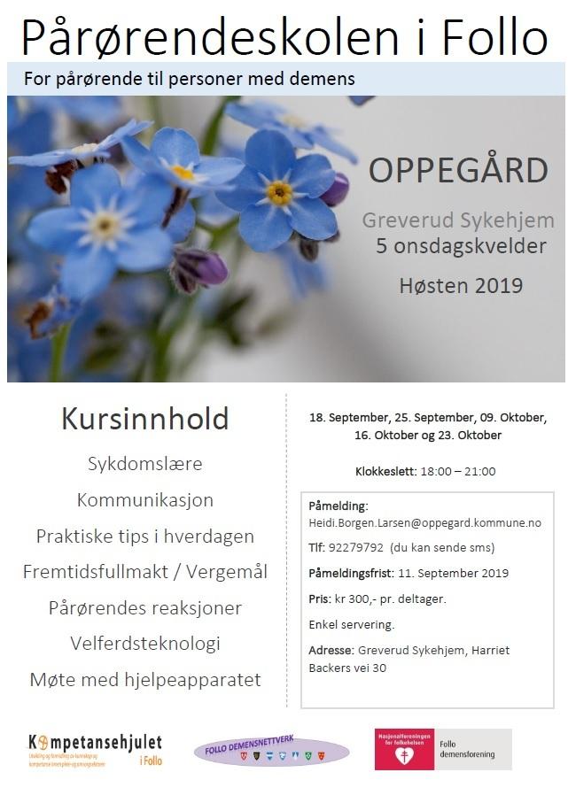 Pårørendeskole Follo høst 2019 - Oppegård