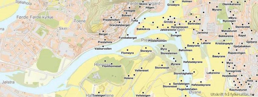 Kart med utvalg av stadnamn i Førde