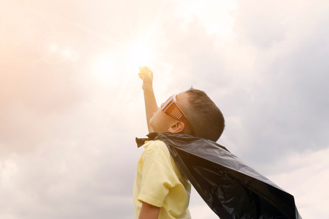 Canva - Happy Kid Play Superhero , Boy Power Concept