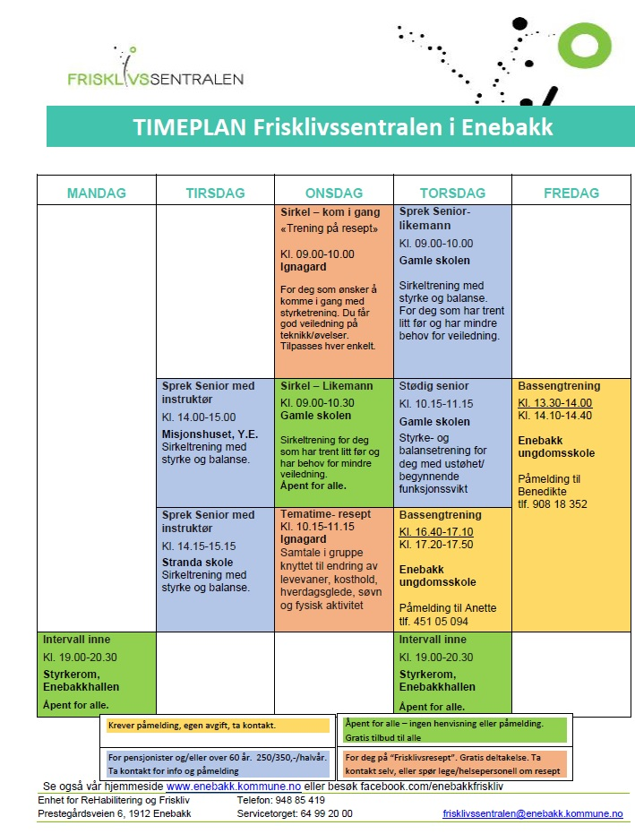 Timeplan frisklivssentralen vår 2020