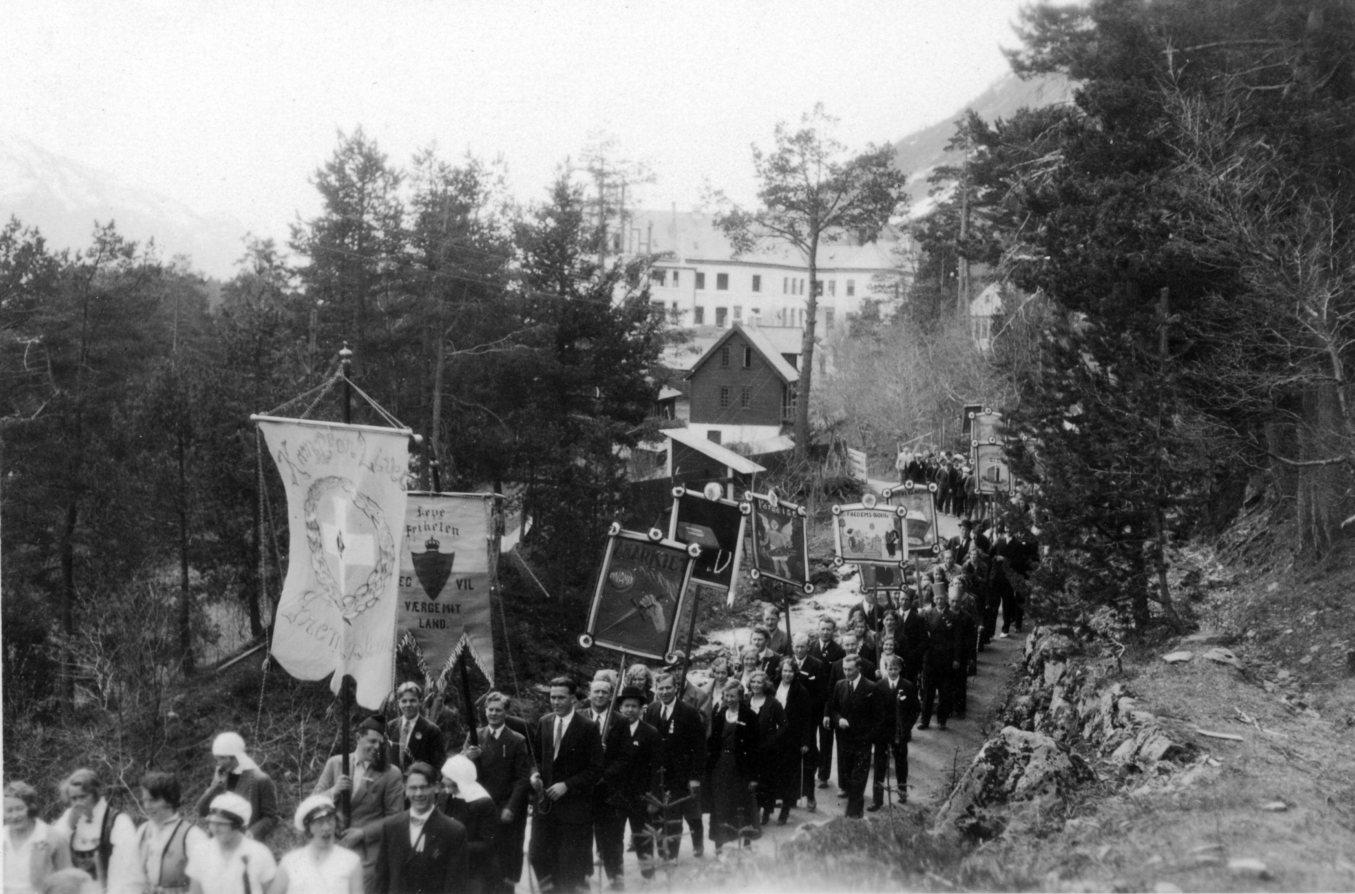 Bilde av 17.mai-tog i skogen