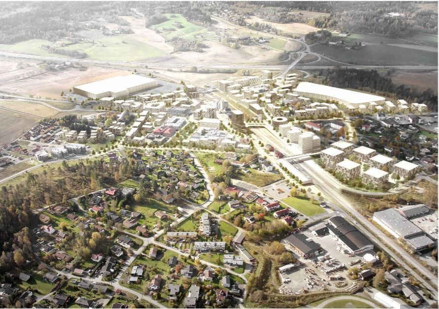 Vestby sentrum_illustrasjon flyfoto