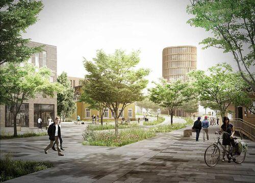 Fremtidens Vestby Illustrasjon Kroerveien med nytt gatesnitt