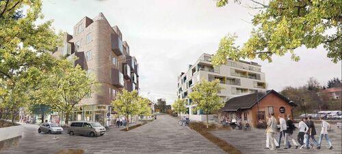Fremtidens Vestby. Illustrasjon av stasjonsområdet
