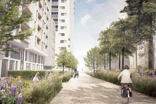 Fremtidens Vestby  Illustrasjon sykkelvei gjennom sentrum