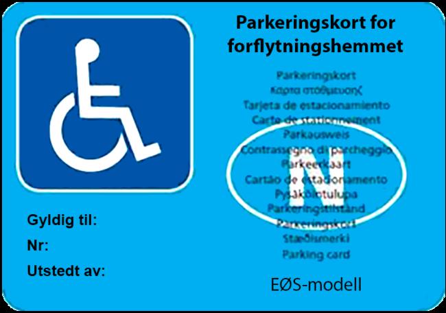 Parkeringskort for bevegelseshemmede