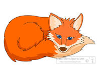 red fox curled up resting clipart