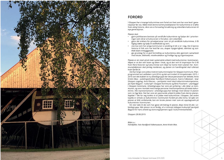 Sidene 4 og 5 i Kulturminneplan for Gloppen, bilete av Holvikjekta og forord.
