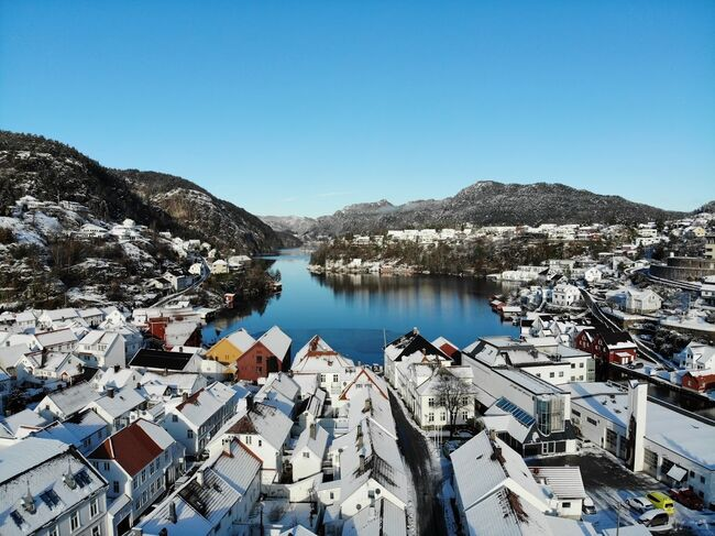 flekkefjord med snø