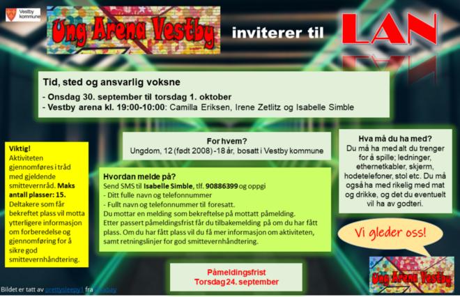 Bli med på gratis aktivitetstilbud for ungdom fra 12 (født i 2008) til 18 år, bosatt i Vestby kommune !