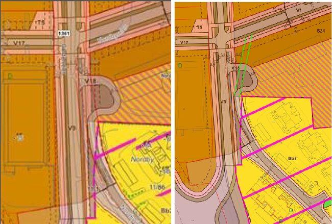 Kart adkomst til og fra Nordbyveien via Sentrumsveien