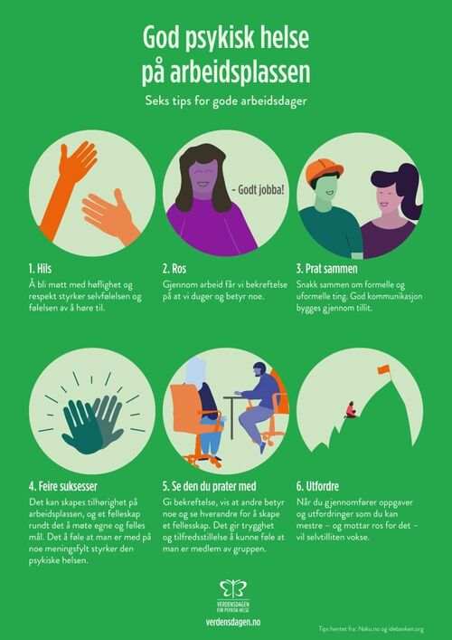 Plakat som gir tips til god psykisk helse på arbeidsplassen