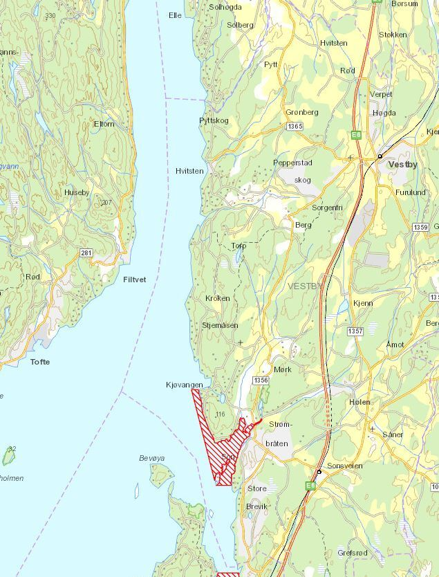 Kart over fredningsområde for hummer i Vestby kommune