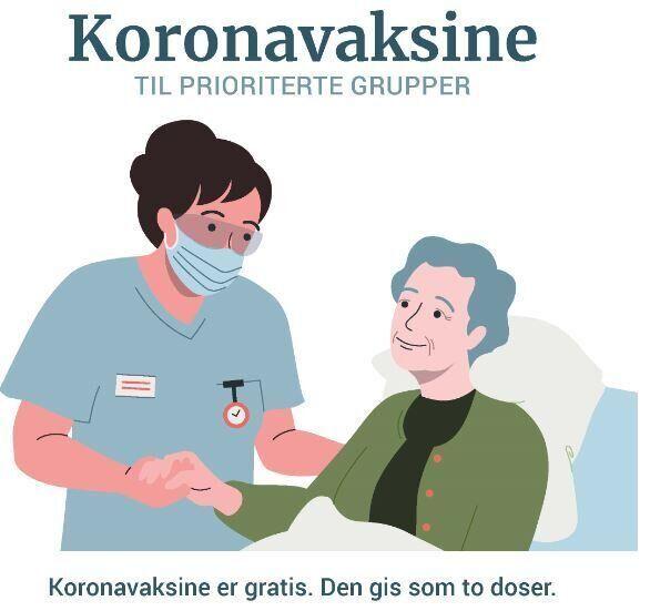 Koronavaksine er gratis og gis som to doser  Foto: Fhi.no