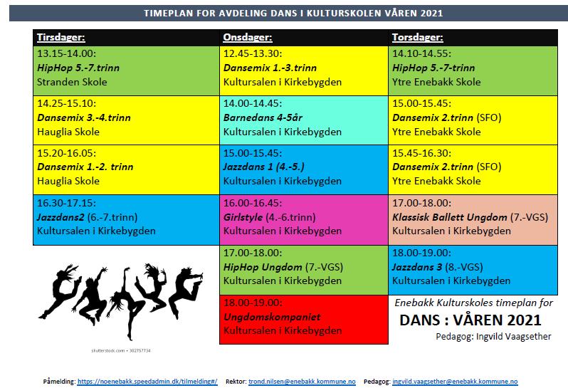 Kulturskolens timeplan - Dans - Våren 2021