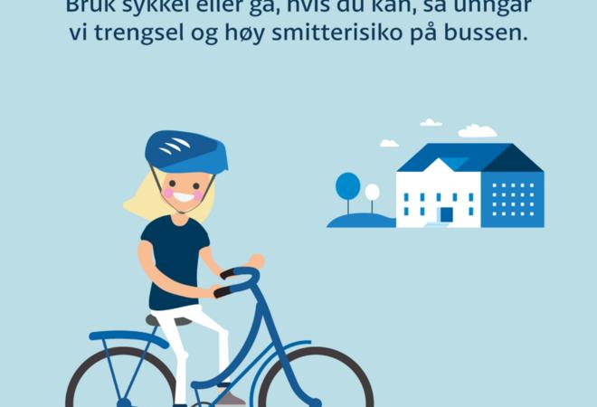 Vær med på et krafttak for å minske smittefaren og trykket på skolebussene. Foto: Viken fylkeskommune
