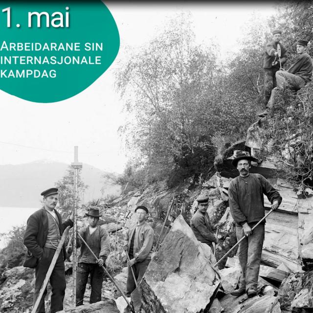 Steinbryting på vegstrekninga Stryn-Loen 1910. Fotograf er Jens Knudsen Maurseth