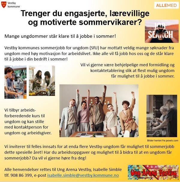 Sommerjobb for ungdom Illustrasjonsfoto: Ung Arena