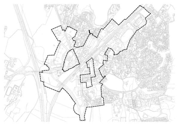 Kart vedr planoppstart for revidering av områderegulering og finansieringsmodellen for Vestby sentrum.