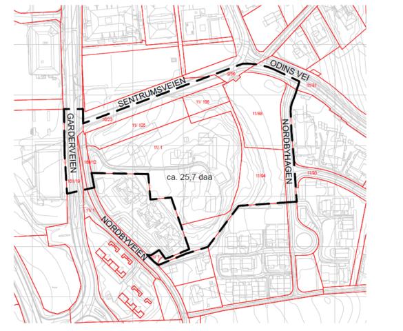 Varslingskart S24 og B/T1 Vestby sentrum. Detaljregulering og utbyggingsavtale