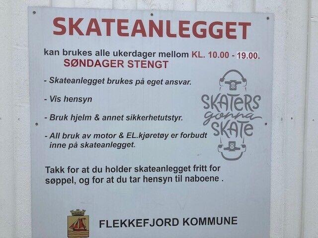 Skateparken skilt