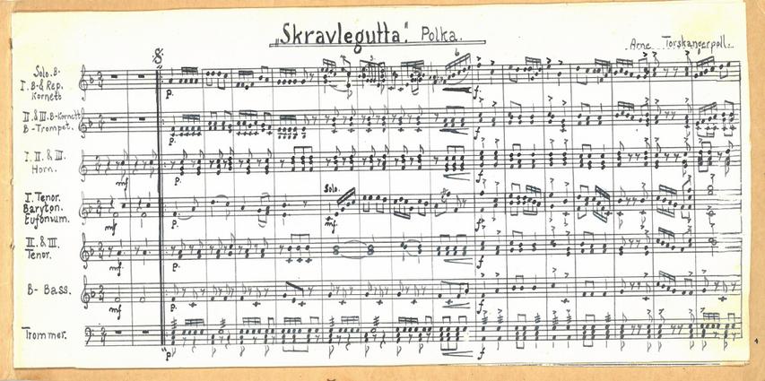 """Noteark med tittelen """"Skravlegutta."""" Polka. Av Arne Torskangerpoll."""