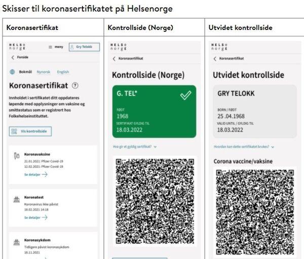 Koronasertifikat, Helse Norge