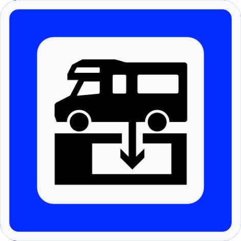 Skilt 611 Toalettømmeanlegg viser til anlegg som kan ta imot toalettavfall fra campingvogner, bobiler og busser (Statens vegvesen).