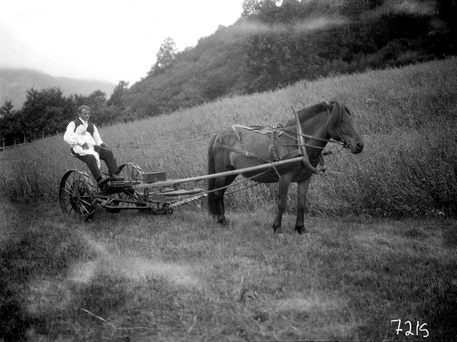 Mann med barn på fanget, sit på jordbruksmaskin drege av hest.