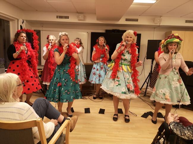 Show og sang fra Sans Égal! Foto: Vestby sykehjem